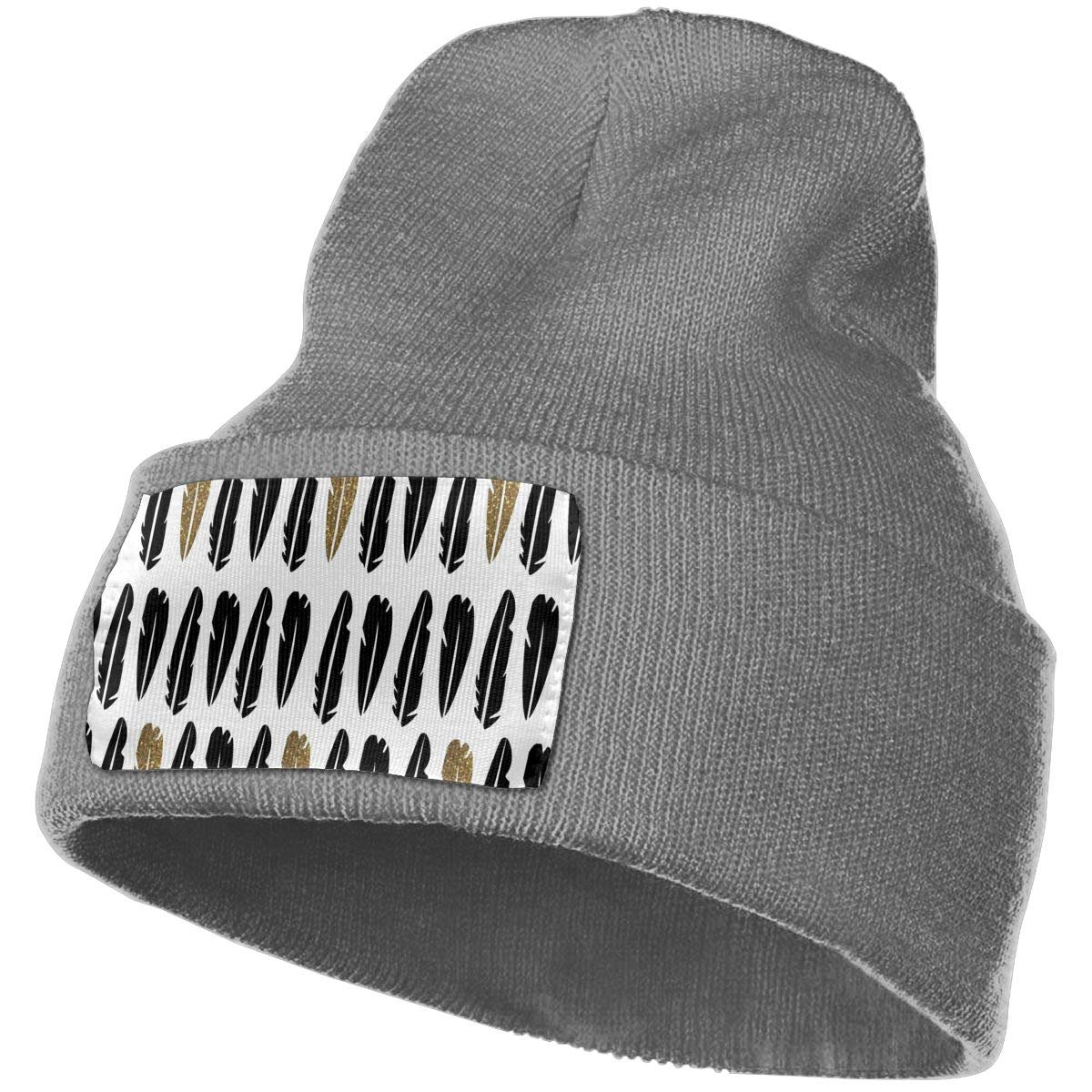 JimHappy Feather Hat for Men and Women Winter Warm Hats Knit Slouchy Thick Skull Cap Black