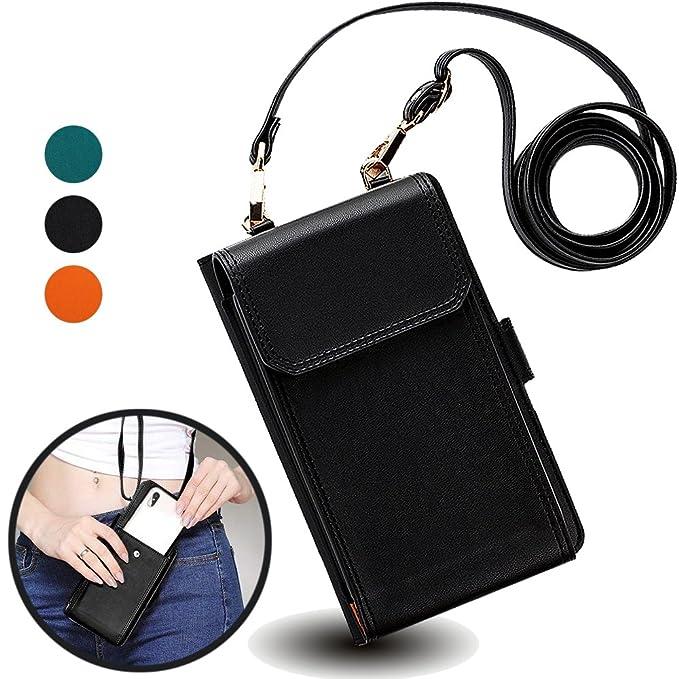 942d8db3912 iPhone 7Plus Wallet Case with Cross Body Strap,Auker Women Universal  Cellphone Flip Leather Zipper