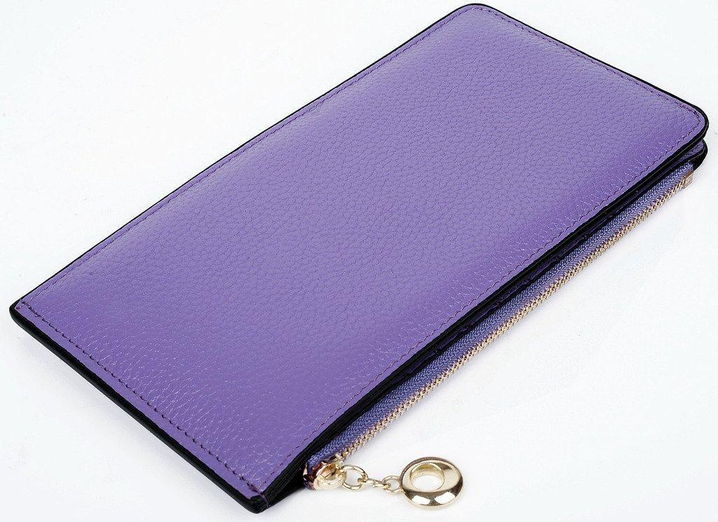 Light Purple paquete de alto grado VANCOO,Cuero genuino de las mujeres de la carpeta de tarjetas multi del organizador con bolsillo con cremallera l/íneas Litchi
