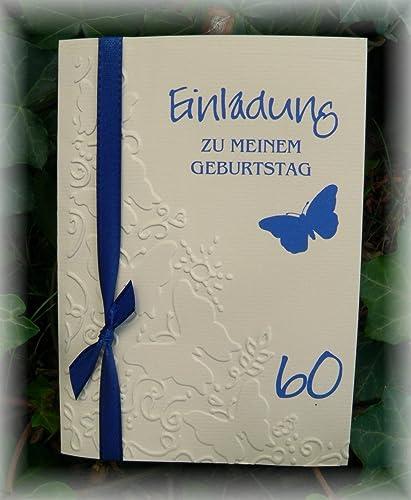 Einladung Einladungskarte Schmetterlinge Gepragt Runder Geburtstag