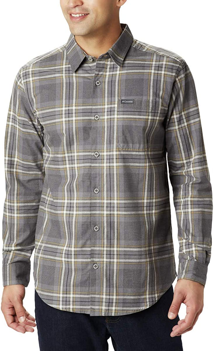 Columbia Men's Boulder Ridge Long Sleeve Flannel Shirt, Comfortable Stretch Cotton