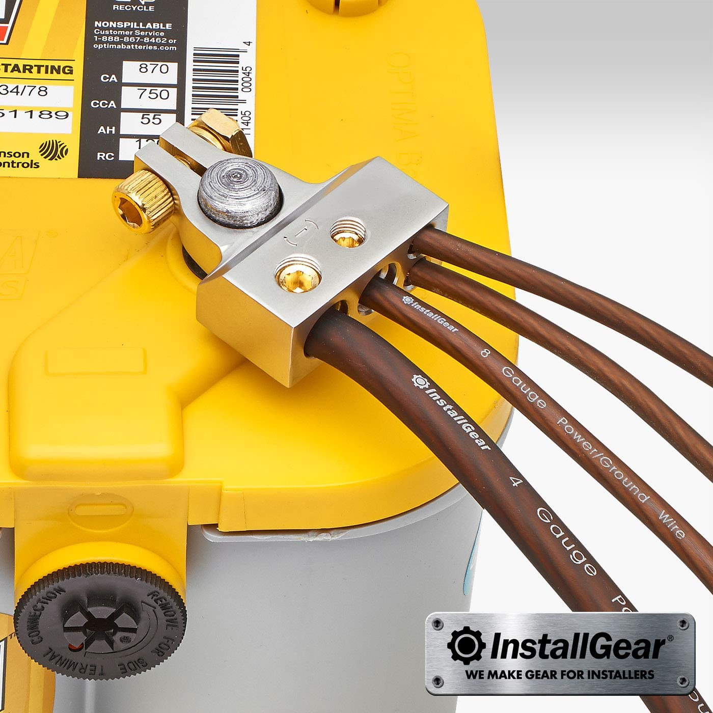 +//- InstallGear 0//4//8 or 10 Gauge Battery Terminals with Shims Positive and Negative