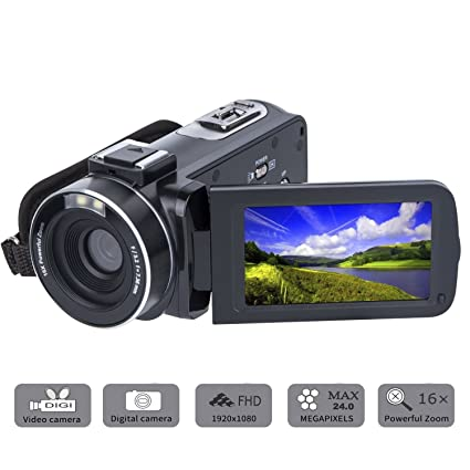 Review Video Camera Camcorder SOSUN HD 1080P 24.0MP 3.0 Inch LCD 270 Degrees Rotatable Screen 16X Digital Zoom Camera Recorder and 2 Batteries(301S-Plus)