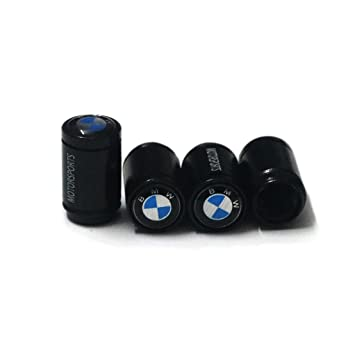 Stream Black Wheel Tire Valve Caps Decal with Rubber Gasket for BMW