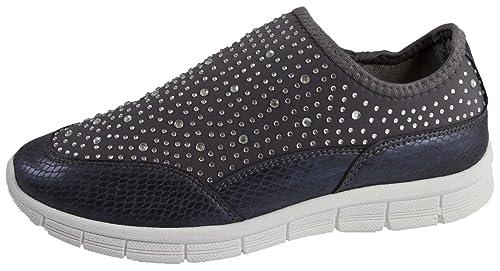 Lora Dora Zapatillas para andar cómodas para mujer, sin cordoneras, con bisutería insertada de color brillante, color Gris, talla 40: Amazon.es: Zapatos y ...