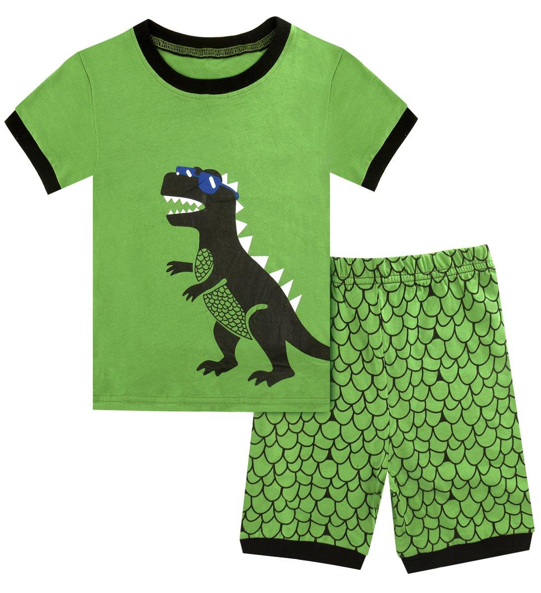 A&J Design Toddler Boys Dinosaur Pajamas Short Sleeve Summer Pjs Sets(3T, Green)