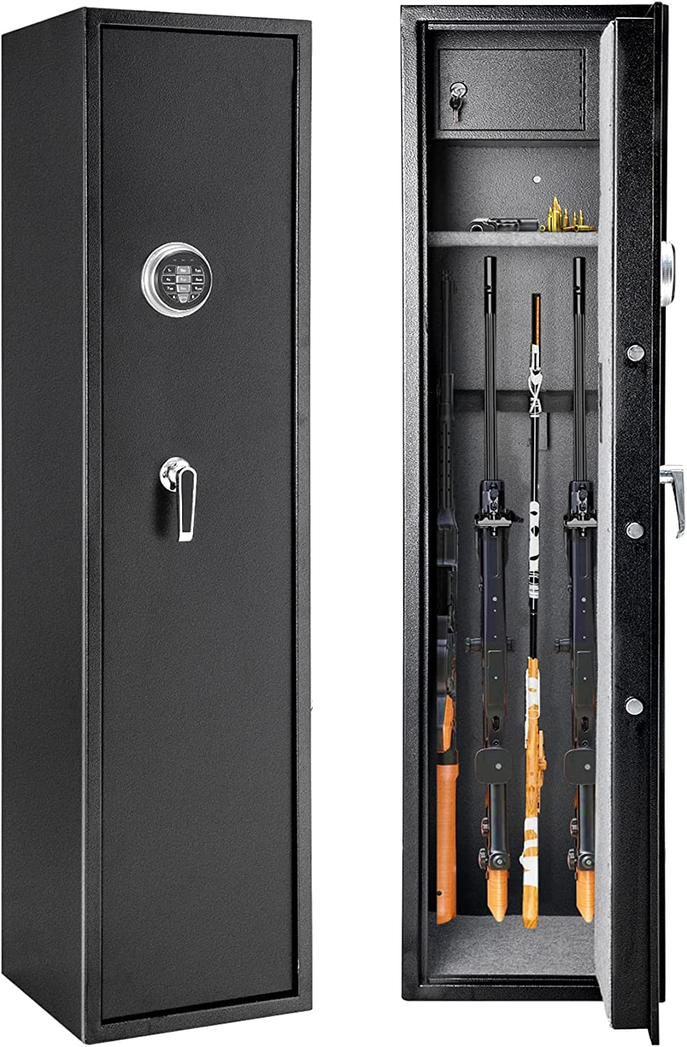 57 Inches High Large Rifle Gun Safe with Removable Storage Shelf, Quick Access Larger and Deeper Rifle Safe for 5-6 Shotgun, Security Gun Cabinet with Pistol/Handgun Lock Box, Silent Mode, Black
