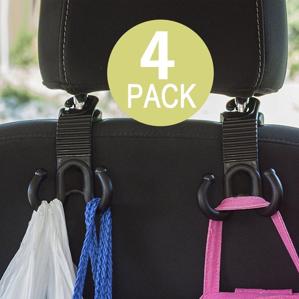 IPELY 4 Pack Universal Car Vehicle Back Seat Headrest Hanger Holder Hooks Double Hook Design
