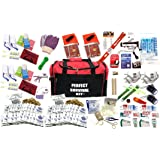 4 Person Perfect Survival Kit Deluxe - Prepare For Earthquake, Evacuation, Emergency Disaster Preparedness 72-Hour Kits for Home, Work, or Auto