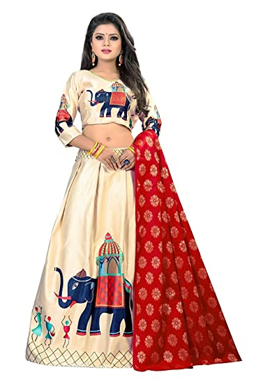 Square-Enterprise Women s Satin Unstitched Lehenga Choli (Off-White   Red)   Amazon.in  Clothing   Accessories 5485f966af