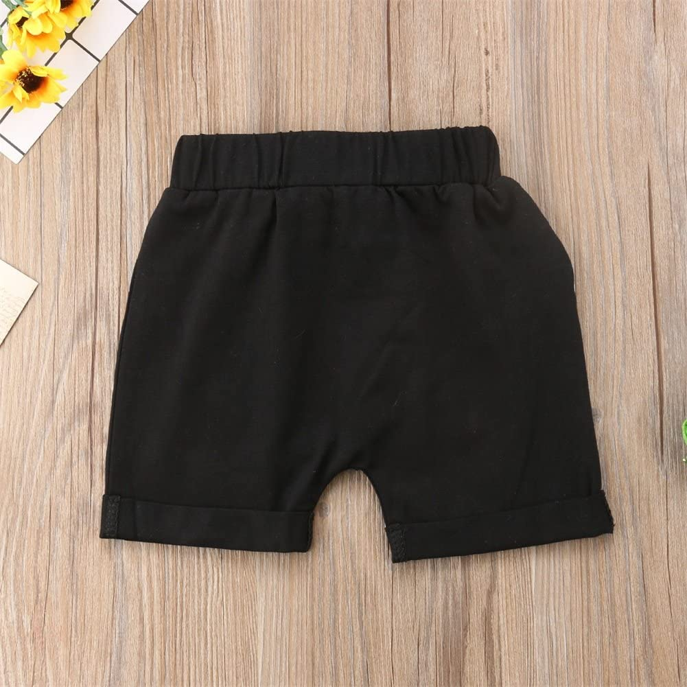 Heartell Baby Toddler Boy Cotton Shorts Pure Color Elastic Waist 12-24M 3-5T