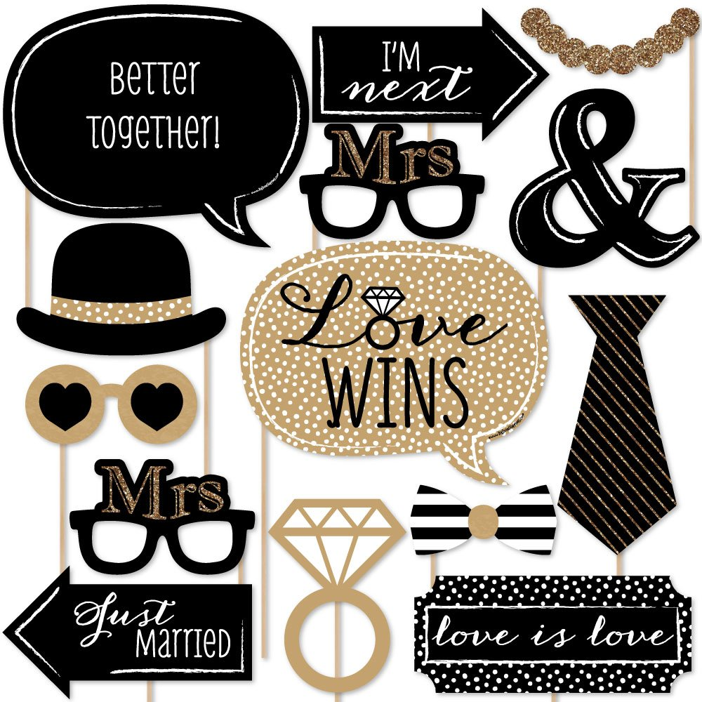 Big Dot of Happiness Mrs. & Mrs. - Gold - Lesbian Wedding LGBTQ Photo Booth Props Kit - 20 Count