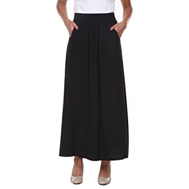 0796afd841c White Mark Women s Full Length Maxi Skirt with Pockets in Black - Small