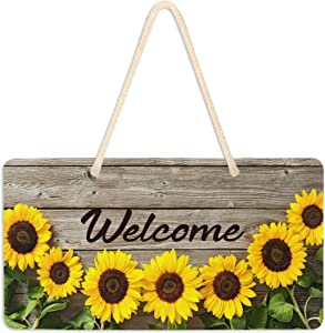 Vdsrup Vintage Sunflowers On Wooden Board Hanging Door Sign Plaque Spring Summer Autumn Sunflower Wall Sign with Hanging String Decorative Welcome Hanging Sign for Front Porch Home Decor 6x11 inches