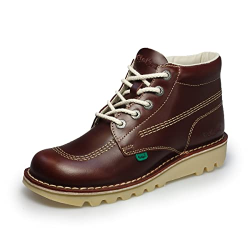 Mens Kickers Boots Kick Hi Leather Dark Red Boots: Amazon.co