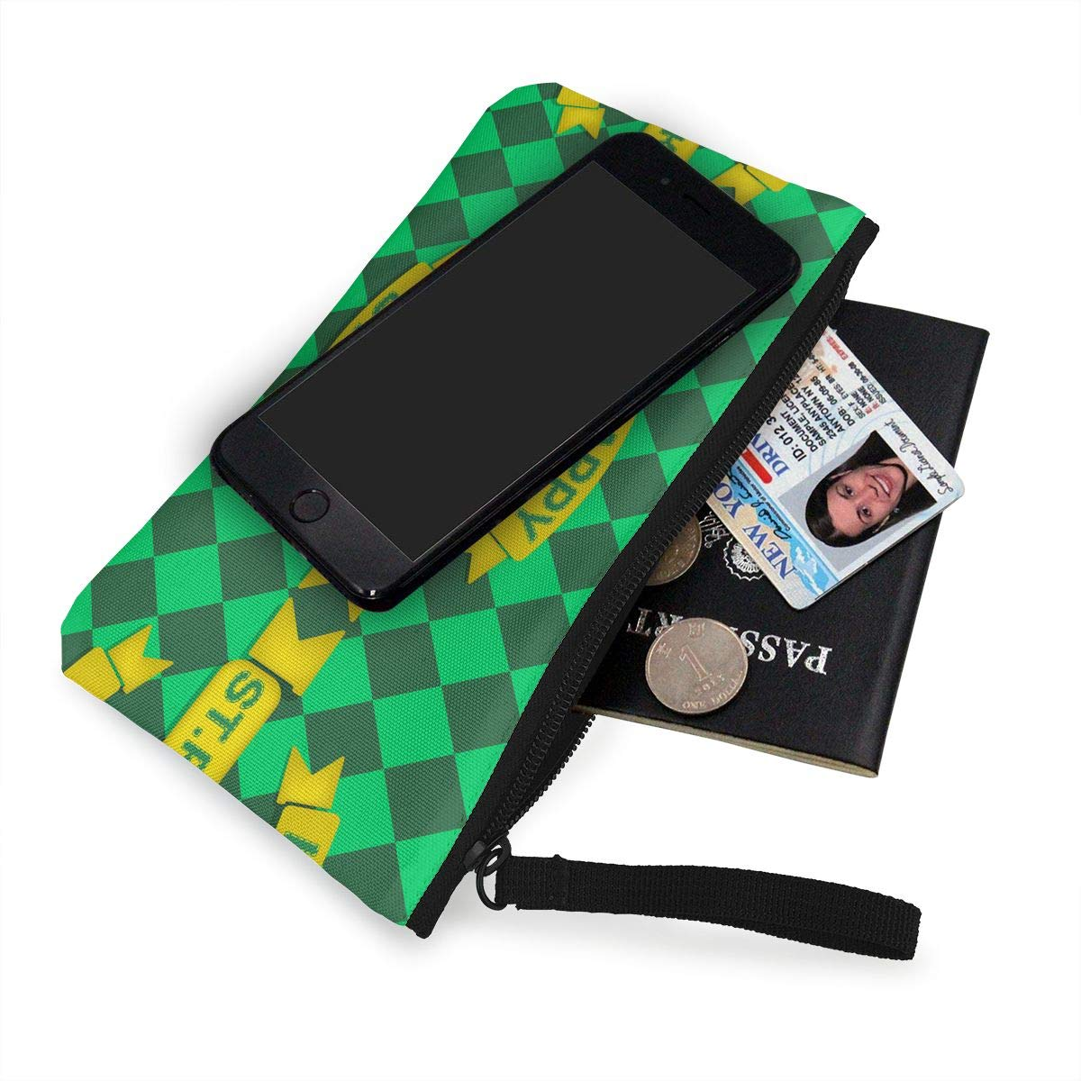 Happy St Patricks Day Pattern Canvas Coin Purse Cute Change Pouch Wallet Bag Multifunctional Cellphone Bag with Handle