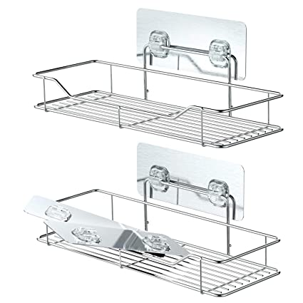 Bathroom Shelves, Veckle Adhesive Shower Caddy Shelf Traceless Wall ...