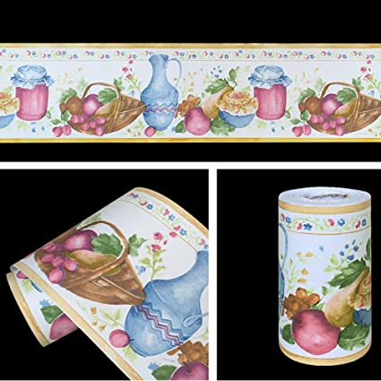 SimpleLife4U Removable Vinyl Wallpaper Border Peel & Stick Wall Borders  Kitchen Tiles Decor Sticker Fruite Vase Pattern