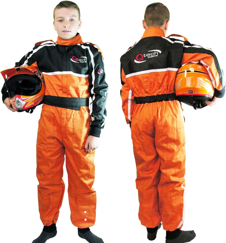 Enfant Orange XL Qtech Combinaison int/égrale de Moto-Cross//Karting//Moto