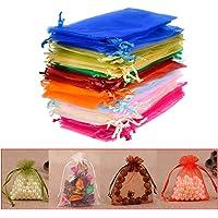 QLOUNI 100 Bolsitas de Organza Multicolores de Regalo