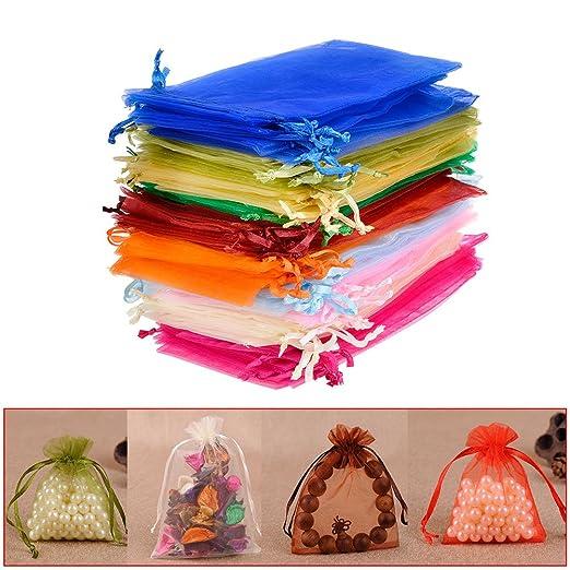 QLOUNI 100 Bolsitas de Organza Multicolores de Regalo Ideal para ...