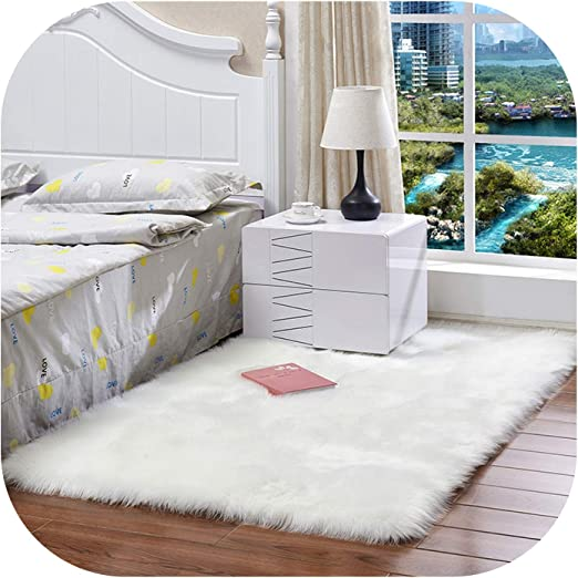 Plain Soft Fluffy Bedroom Faux Fur Fake Sheepskin Rugs Washable Hairy Area Mats
