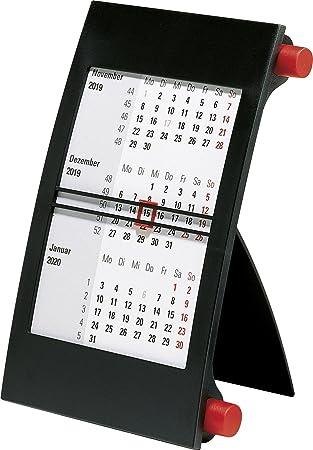 rido/idé 703800020 Drei-Monats-Tischkalender, 1 Seite = 3 Monate, 110 x 183 mm, Kunststoff-Rahmen mit roten Drehknöpfen, Kalendarium 2018