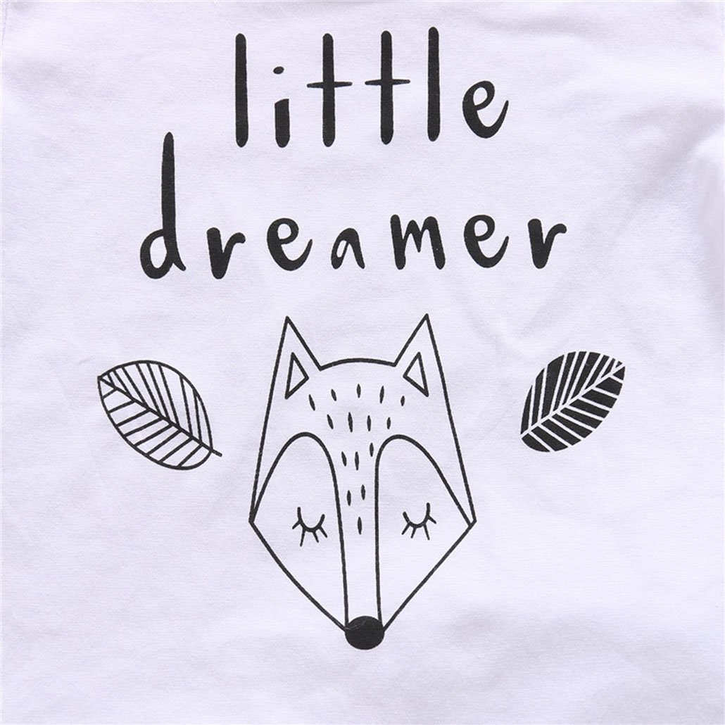 Newborn Baby Boy Girl Clothes Set Little Dreamer Fox T-Shirt Tops+Pants Outfits Clothes Baby Clothing Set
