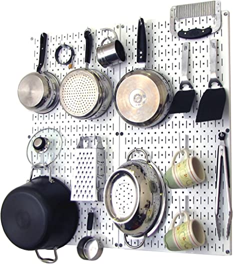 Wall Control Kitchen Pegboard Organizer Pots And Pans Pegboard Pack Storage And Organization Kit With White Pegboard And White Accessories Kitchen Storage And Organization Products Amazon Com