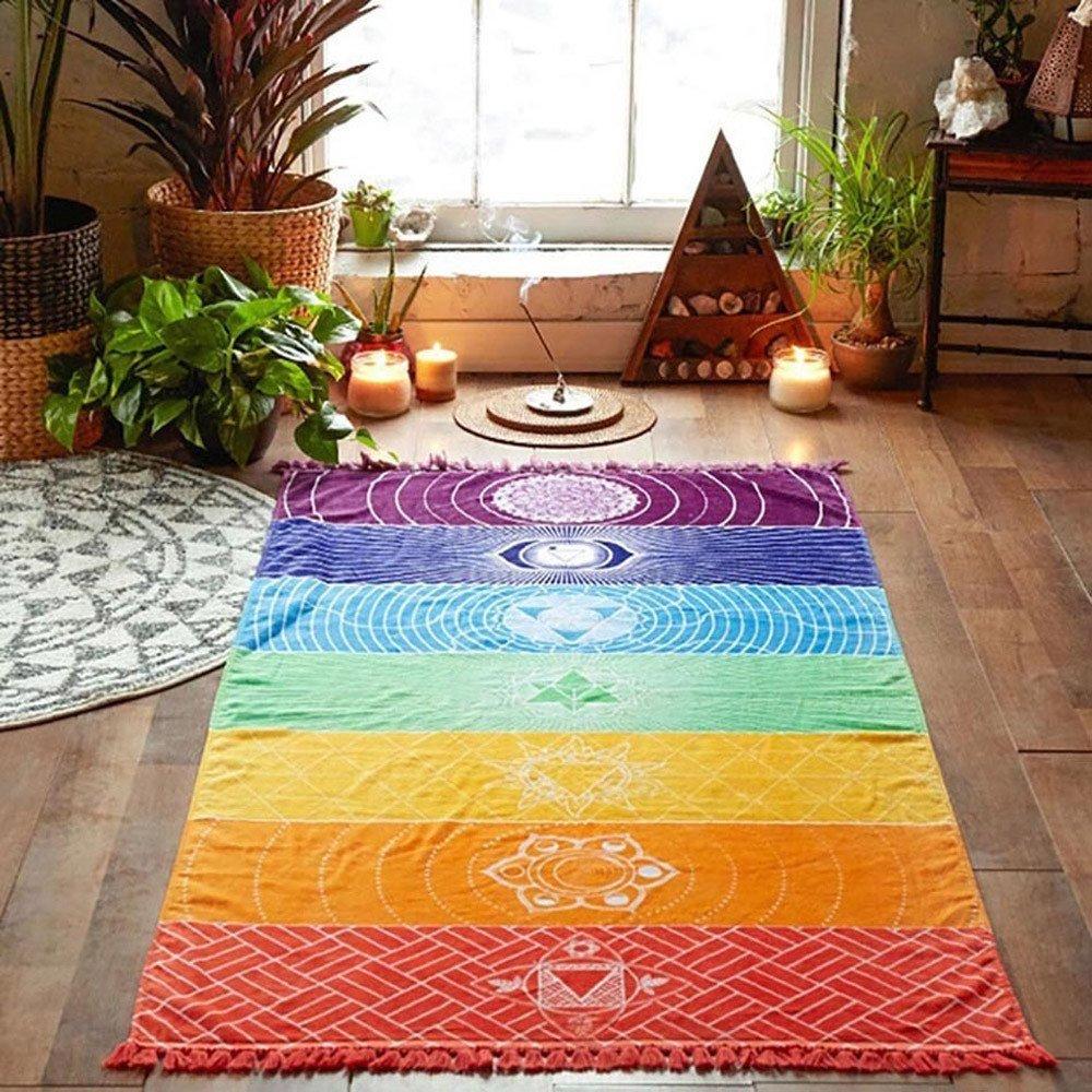 Sipring Hot Rainbow Beach Towel Wall Hanging Tapestry Hippy Throw Stripe Towel Yoga Mat Picnic Blanket-Superfine Fiber-59''x30'' (A)