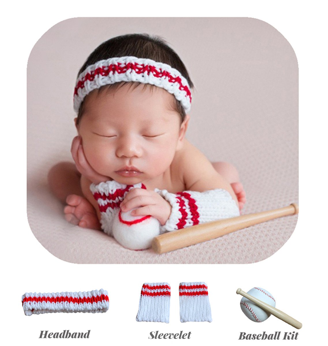 M&G House Newborn Baby Boys Crochet Knitted Photography Props Baseball Sports Hat Sleevelet Costume Set
