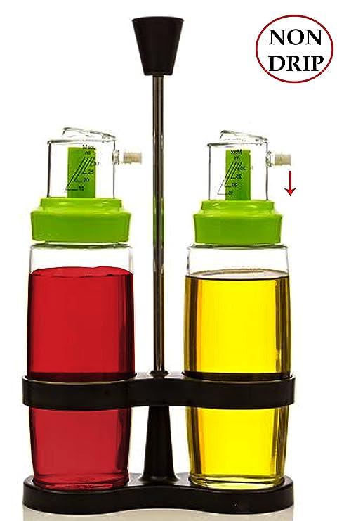 Amazon.com: Non-Drip Aceitera y vinagrera Botella Jar rack ...