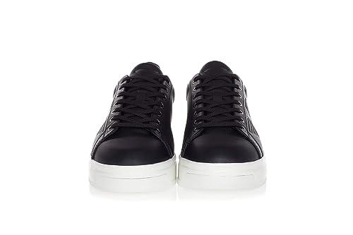 4bdd81dbfc8f5 Emporio Armani Scarpe Uomo Leather Sneakers with High Rubber Outsole-43 Uomo  Nero  Amazon.it  Scarpe e borse
