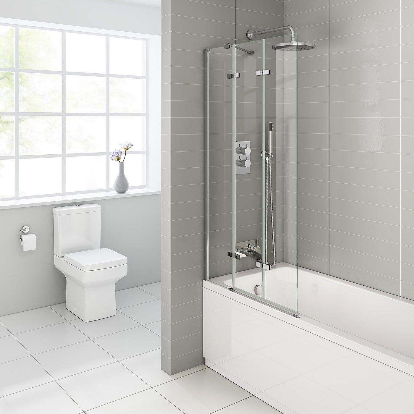 800mm Luxury Folding Bath Shower Glass Screen Pivot Door Panel   Left Hand:  IBathUK: Amazon.co.uk: Kitchen U0026 Home