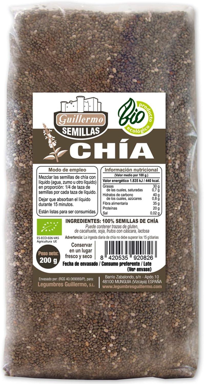 Guillermo Semillas de Chia Ecológica BIO Superalimento 100 ...