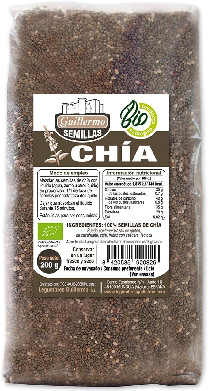 Guillermo Semillas de Chia Ecológica BIO Superalimento 100% Natural 200g: Amazon.es: Alimentación y bebidas