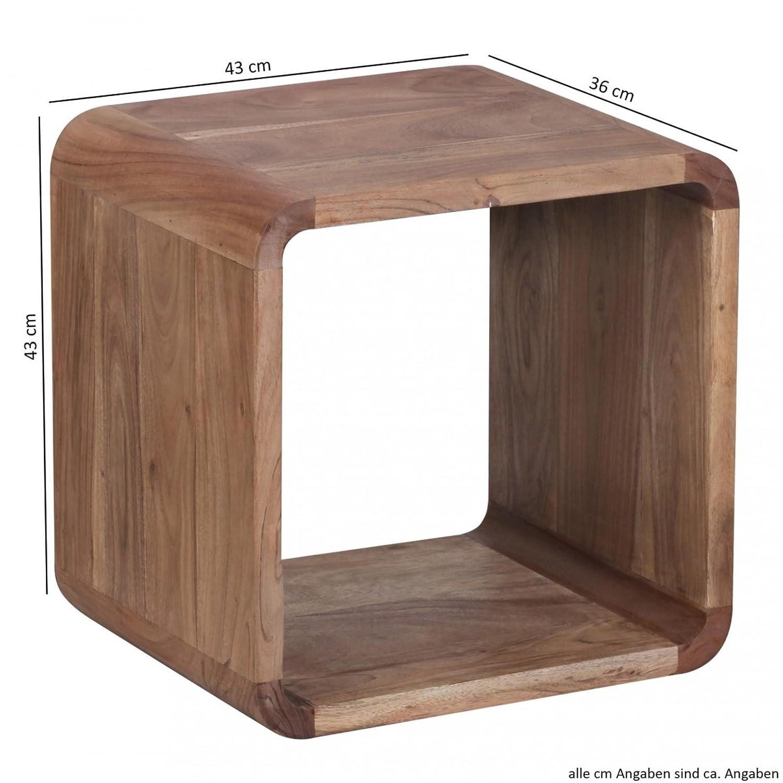 Wohnling 2er Set Satztisch Massiv Holz Akazie Wohnzimmer Tisch Landhaus Stil  Cubes Beistelltisch Würfel Regal ...