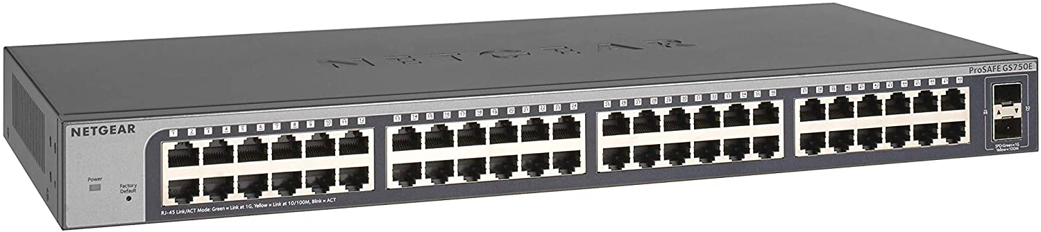 NETGEAR 50-Port Gigabit Ethernet Smart Managed Plus Switch (GS750E) - with 2 x 1G SFP, Desktop/Rackmount, and ProSAFE Limited Lifetime Protection