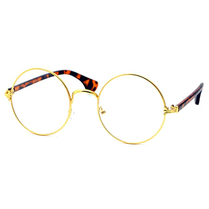 128a3f445f Image Unavailable. Image not available for. Color  VINTAGE Circle Large  Metal Unisex Round Frame Clear Lens Eye Glasses GOLD