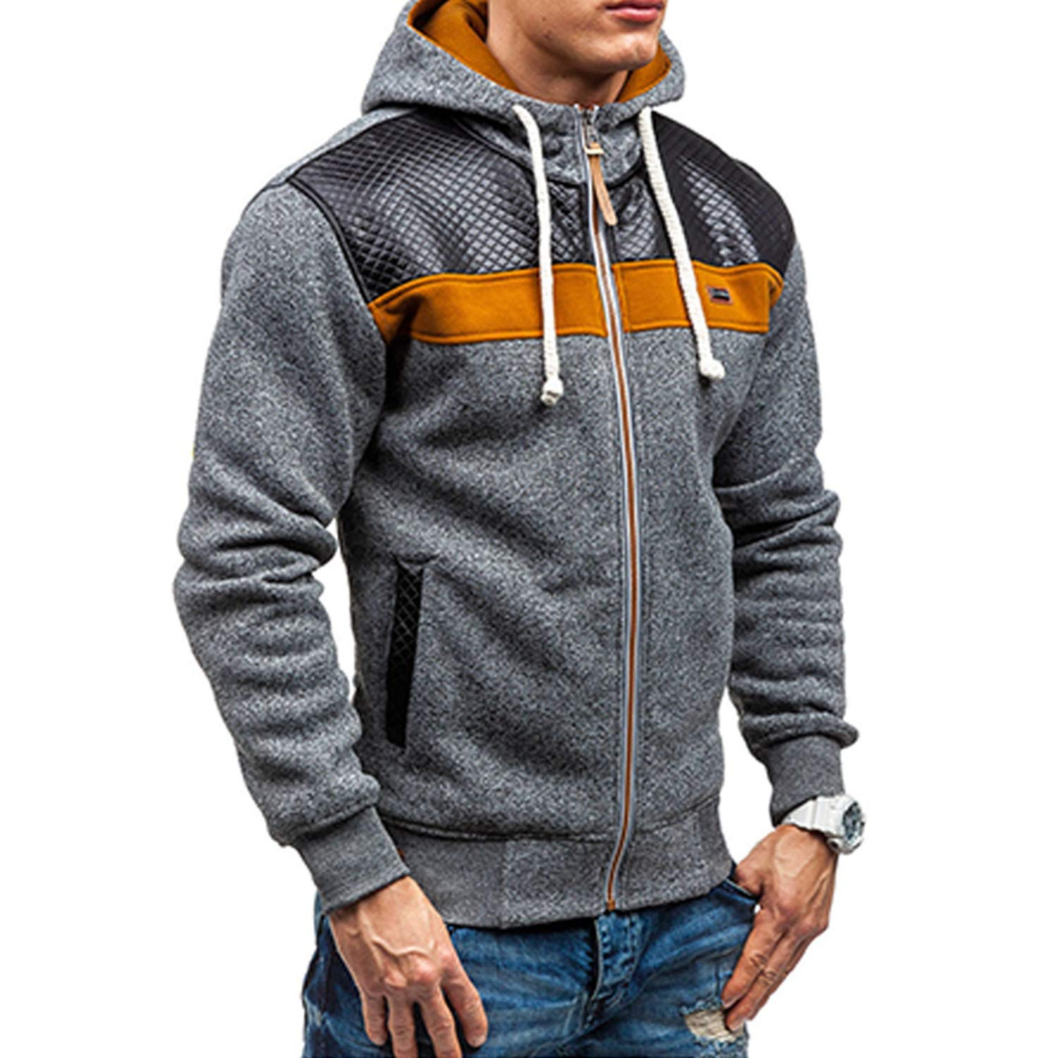 Tianshui Store Fleece Hoodies Men Thicken Cotton Sweatshirt Zipper Cardigan Sportswear Hip Hop