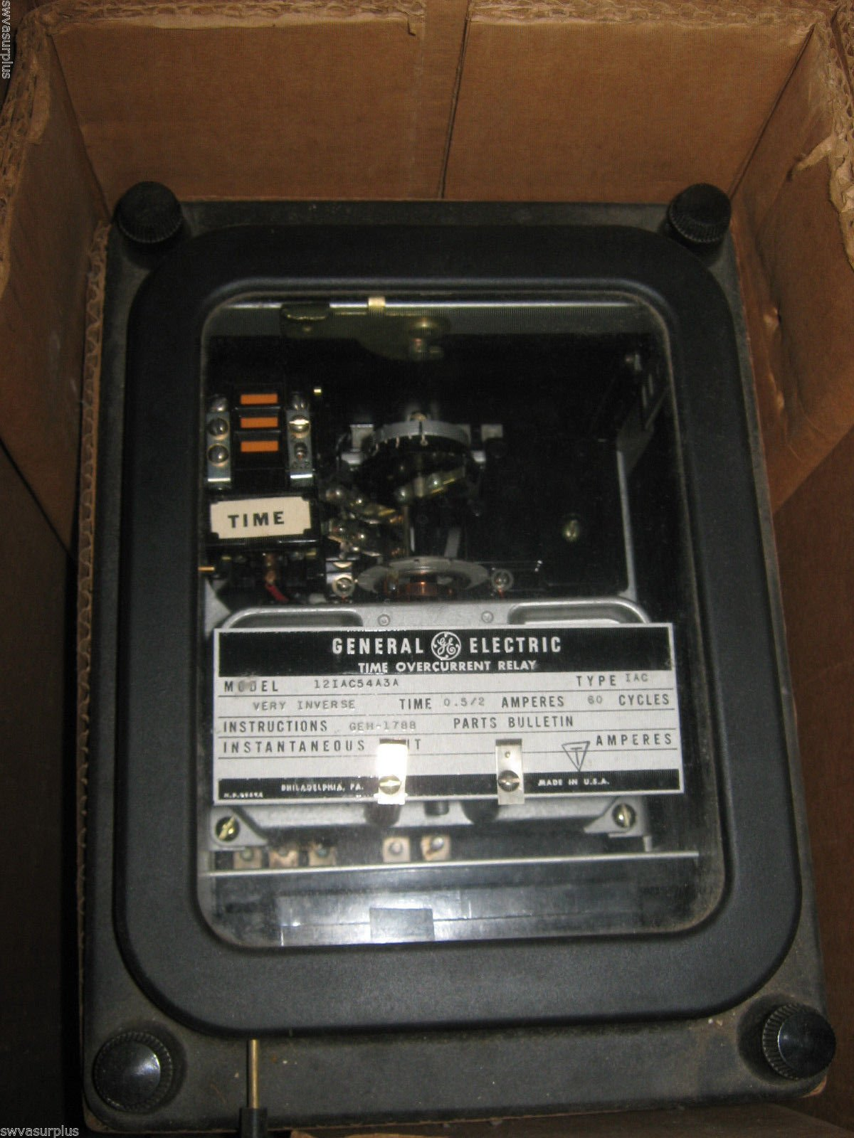 Ge 12IAC54A3A Time Overcurrent Relay, in box