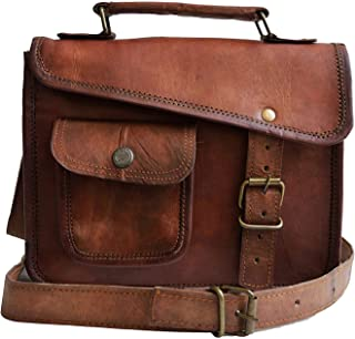 Jaald - Elegante borsa da uomo in vera pelle marrone con tracolla per iPad 1 2 3 4 Mini Brown 7' x 9' t5411