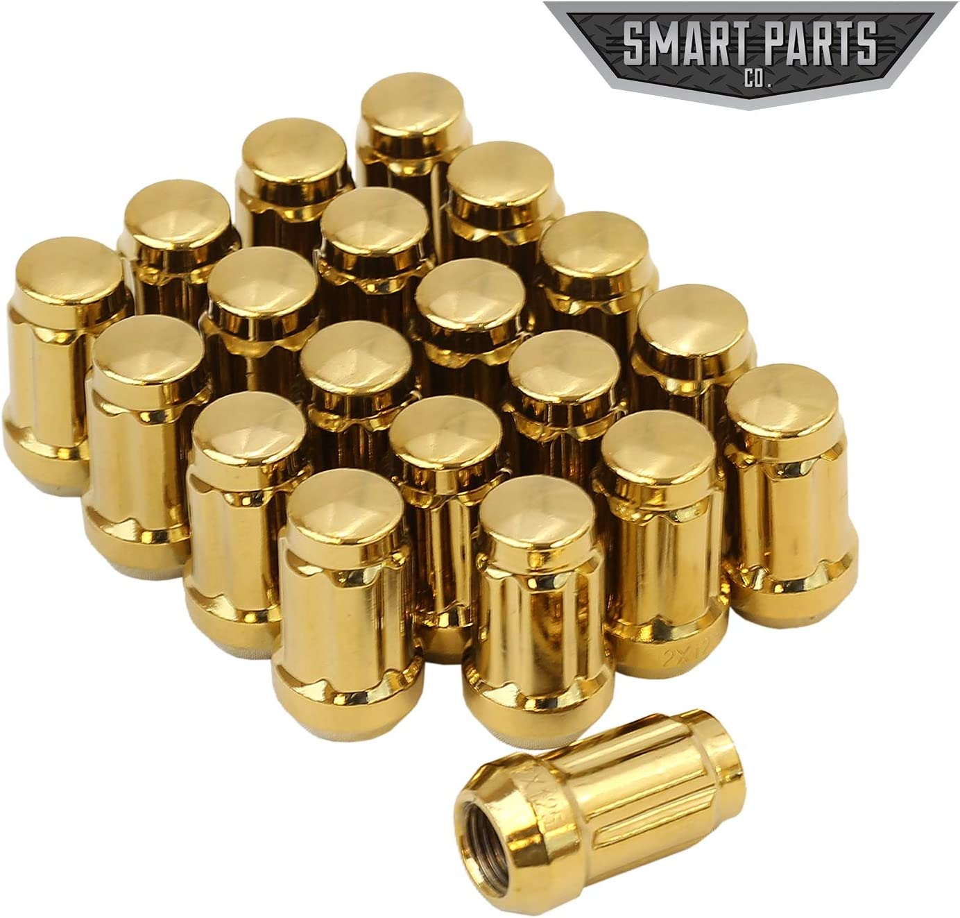 Smart Parts 20 PC 12x1.25 Neo Chrome Closed End Spline Drive Acorn Lug Nuts Key 1.4 Length
