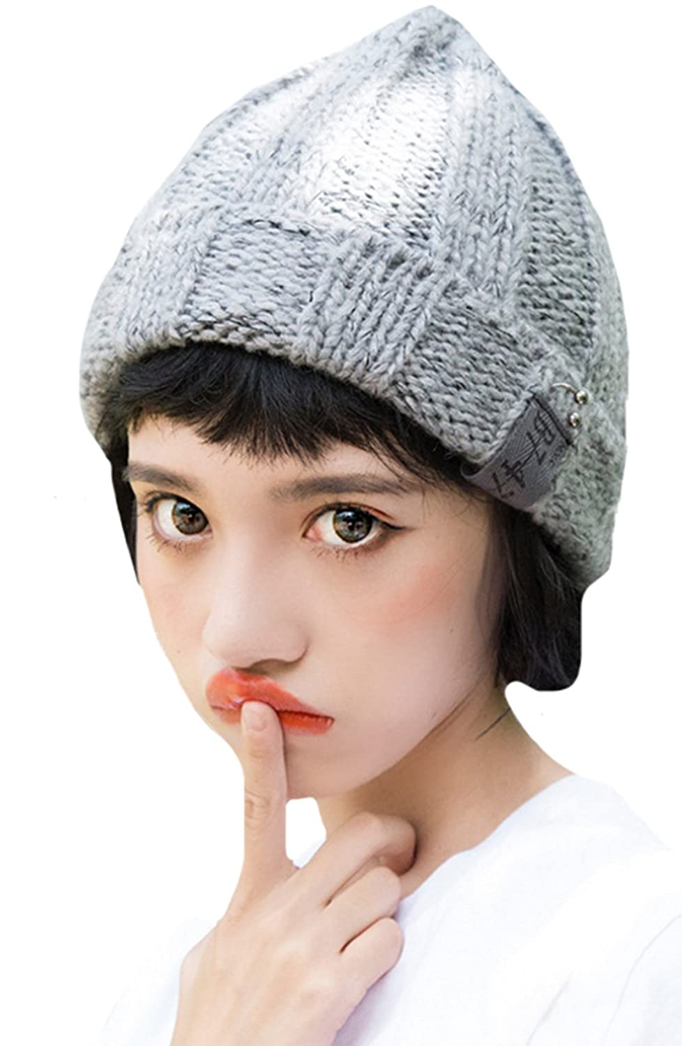ZEHAT New Gray Pure Handmade Knitted Wool Hat Girls Women Caps Winter Warm  Headwrap accessories at Amazon Women s Clothing store  ba6a67b95d98