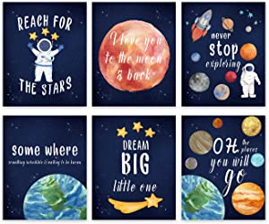 Inspirational Outer Space Quote Wall Art Print-- Playroom or Nursery Decor-- Solar System Theme Saying Canvas Print -- Astronaut Rocket Planet ( Set of 6 )--Unframed--8X10 inch