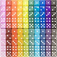 100-pack Translucent & Solid 6-Sided Game Dice - 20 Sets of Dice in Vintage Colors for Gaming, 16mm Bulk d6 Dice for Board G