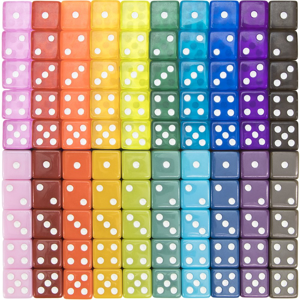 100-pack Translucent & Solid 6-Sided Game Dice | 20 Sets of Dice in Vintage Colors for Gaming, 16mm Bulk d6 Dice for Board Games, Teaching Math, Make Your Own Board Game Supplies & Replacement Pieces by Brybelly