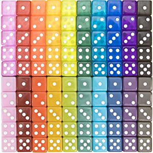 100-pack Translucent & Solid 6-Sided Game Dice | 20 Sets of Dice in Vintage Colors for Gaming, 16mm Bulk d6 Dice for Board Games, Teaching Math, Make Your Own Board Game Supplies & Replacement Pieces