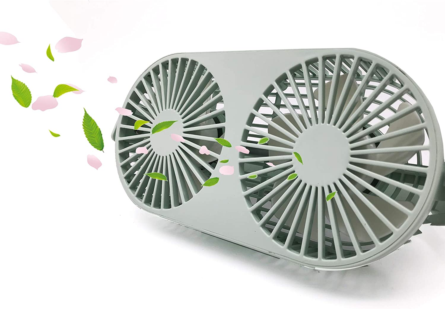 Exclusivo Bolsillo 4.6 Inch 360 Rotatable Personal Dual USB Fan, Quiet and Powerful Desk Table Fan with Aromatherapy Box, Twin Turbo Blades, 3 Speeds, Portable Mini Fan for Home Office Green