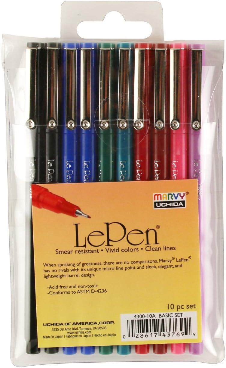 UCHIDA Le 0.3 Millimeter Point Pen Set Art Supplies, 1 Pack, Multicolor, 10 Count
